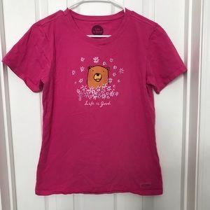 Life is Good Pink Bear Flower Short Sleeve T Shirt